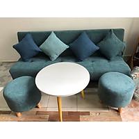 Bộ sofa bed, sofa giường xanh nước biển nhạt XB 1m7x90, bộ bàn ghế sofa phòng khác, salon, sopha, sa lông, sô pha