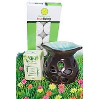 Combo đèn xông tinh dầu nến hình chiếc lá + tinh dầu sả chanh 10ml Bio Aroma tặng kèm 10 viên nến tealight (đèn giao màu ngẫu nhiên)