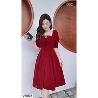 Váy Đầm Xếp Ly Ngực Tay Lỡ Ôm Eo Có Mút Ngực Chất Liệu Umi Thời Trang Nữ KEMPK Mẫu Free Size Dưới 56kg