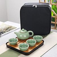 Khay trà bàn trà tre mini có khay đựng nước tiện lợi Cao Cấp - Chứa được 350ml