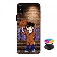 Ốp lưng nhựa dẻo dành cho iPhone XS Max in hình Conan Detective - Tặng Popsocket in logo iCase - Hàng Chính Hãng