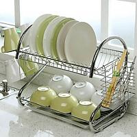 Giá để chén bát nhà bếp 2 tầng chất liệu không rỉ cao cấp