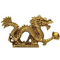 Tượng Rồng phong thủy bằng đồng thau 13cm