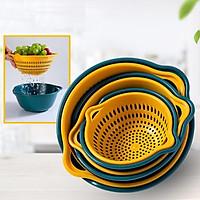 Bộ Rổ Nhựa Kèm Chậu 6 Món Cao Cấp Vàng xanh hàng đẹp loại 1
