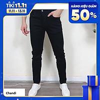Quần Jean Nam Đen Trơn cao cấp thương hiệu Chandi, phong cách tôn dáng nam tính chất jean co dãn Mẫu J20