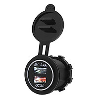 5V 3.4A Motorcycle QC 3.0 Dual USB Waterproof IP66 Socket Charger Power Adapter - Green