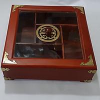 Khay đựng bánh kẹo gỗ Hình vuông- gỗ hương 5 ngăn