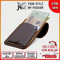 Ví sen 3, da bò thật, ví mini cầm tay  J4M cho nam và nữ đựng tiền và thẻ, bh 24 tháng 1 đổi 1