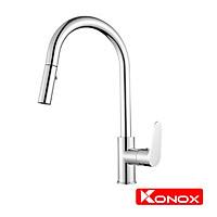 Vòi rửa bát rút dây Konox, Model KN1900, Inox 304AISI tiêu chuẩn châu Âu, mạ PVD 5 lớp sáng bóng, Hàng chính hãng