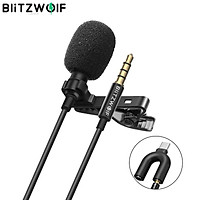 Mini 3.5MM Noise Reduction Mic BlitzWolf CM1 HiFi Sound Microphone Lavalier Cardioid Omnidirectional Camera Recording for YouTuBe Live Broadcasting SLR DJI OSMO Action Sports Black