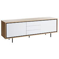Tủ chén đĩa JYSK Halby gỗ công nghiệp màu trắng/sồi/chân kim loại sơn đen 180x62x45cm