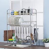 Kệ để đồ nhà bếp 2 tầng BLK20 full inox có giá dắt dao, đũa, thìa, có khay để dụng cụ rửa bát và móc treo