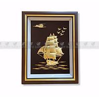 Tranh thuyền thuận buồm xuôi gió mạ vàng 24k (25x32cm) MT Gold Art- Hàng chính hãng, trang trí nhà cửa, phòng làm việc, quà tặng sếp, đối tác, khách hàng, tân gia, khai trương