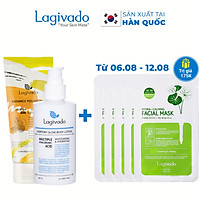 Bộ đôi Kem body trắng da Hàn Quốc Lagivado Everyday Glow BODY LOTION 200ml và tẩy tế bào da chết Radiance Peeling 50 ml