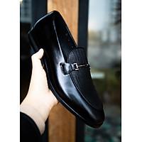 Giày Lười Nam Da Bò + Da Voi Đai Inox Trẻ Trung Cao Cấp