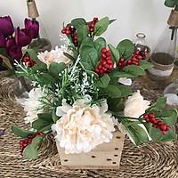 Bình Hoa Giả -  Hoa Mẫu Đơn Và Hoa Điểm Trắng Lá Kim - Hoa Giả Cao Cấp - Hoa Vintage
