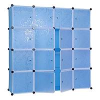 Tủ Nhựa Ghép Đa Năng 16 Ô Xanh Dương Trơn, Cánh Trong (47 x 145 x 145cm) - 16.DT.67