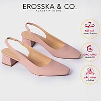 Giày cao gót Erosska thời trang mũi vuông phối dây gót hở kiểu dáng đơn giản dễ phối đồ cao 5cm EL016