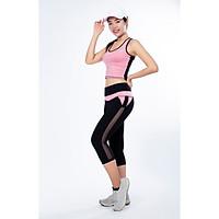 Bộ thể thao nữ quần lửng lưới áo croptop cao cấp màu Cam- DL513
