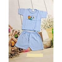 Bộ quần áo màu tay ngắn cúc lệch cho bé trai, bé gái từ sơ sinh đến 11,5kg