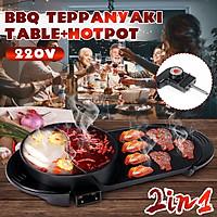 1600W Hot pot Oven Non-stick Smokeless Grill Teppanyaki Barbecue BBQ Cook