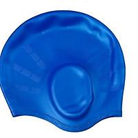 Mũ Nón Bơi Silicon che tai chống thấm nước và co dãn tốt cho người lớn và trẻ con (màu ngẫu nhiên)