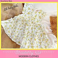 Váy xoè hoa nhí vàng cực xinh sắn cho bé gái tưf 8-25kg. 2 lớp, chất thô đũi cực mềm