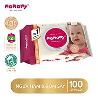 Khăn ướt ngừa hăm, kháng khuẩn an toàn cho bé Mamamy 100 tờ có nắp