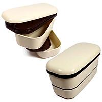 Bộ 2 hộp cơm mang đi làm dành cho sinh viên tiện dụng (Màu trắng) - Nội địa Nhật Bản
