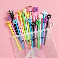 Set 20 bút bi nước cute nhiều màu nhiều mẫu kèm túi