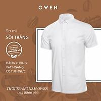 OWEN - Áo sơ mi trắng ngắn tay Owen chất sồi trắng - Áo sơ mi ngắn tay màu trắng