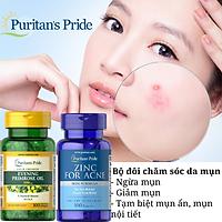Bộ đôi ngừa mụn, điều hòa nội tiết tố, trắng da, chống lão hóa Zinc For Acne và Tinh dầu hoa anh thảo của Puritan's Pride
