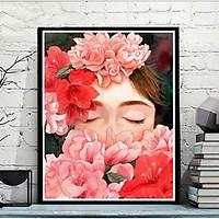 Tranh sơn dầu số hoá tự tô mỹ nữ hoa dâm bụt