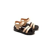 Giày sandal nữ đế bằng 3p, Da thật quai ngang thời trang PABNO PN16001