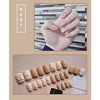Bộ 24 móng tay giả nail thời trang họa tiết bắt mắt chống thấm nước (E027)