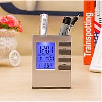 Đồng hồ báo thức,đo nhiệt độ kiêm giá đựng bút để bàn thông minh DHB002