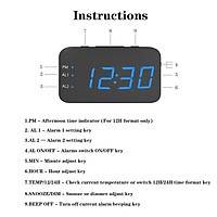 Digital LED Alarm Clock Large Mirrored Display Snooze Function Beside Clock for Bedroom Decor