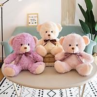 Gấu bông Gấu lông xù đeo nơ ruy băng ngồi - 1 màu - màu ngẫu nhiên