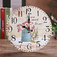 Tailored Vintage Style Non-Ticking Silent Antique Wood Wall Clock for Home Kitchen Office