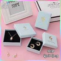 Hộp quà tặng hộp trang sức Màu xanh pastel họa tiết Lá Vàng sang trọng chất liệu cao cấp