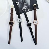Đồng hồ kim thời trang nữ dây da mặt tròn Rtt1, dây da mềm.