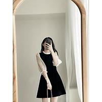 Váy suông nữ,đầm suông nữ cổ bèo tay voan chất umi