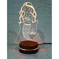 Nàng tiên cá, Đèn Trang trí, đèn 3D led, Đèn ngủ đổi màu, Đèn 16 màu thay đổi, Đế gỗ thân thiện, điều khiển từ xa tiện lợi, Quà tặng ý nghĩa, quà lưu niệm, thiết bị chiếu sáng nhà cửa, bàn làm việc