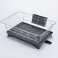 Stainless Steel Dish Drying Rack, Compact Dish Rack and Drainboard Set, Dish Drainer with Adjustable Drainage Channel, Removable Cutlery Holder