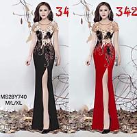 Đầm maxi body dạ hội kết hoa nổi và kim sa TRIPBLE T DRESS- size M/L/XL - MS28Y