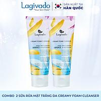 Combo  2 Sữa rửa mặt trắng da Hàn Quốc Lagivado không làm khô, căng da Creamy Foam Cleanser 50ml