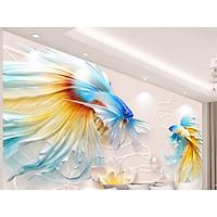 Tranh dán tường đôi cá chép - tranh dán phòng khách - phòng ngủ - hành lang - tranh phong thủy