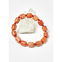 Vòng lu thống đá san hô hóa thạch phối mã não đỏ - Ngọc Quý Gemstones
