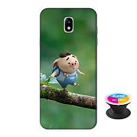Ốp lưng nhựa dẻo dành cho Samsung J7 Pro in hình Heo Con Đi Học - Tặng Popsocket in logo iCase - Hàng Chính Hãng