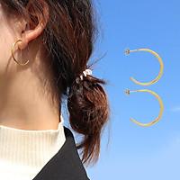 Hoa tai chữ c thanh tròn phong cách tối giản hiện đại âu mỹ-HTV9759